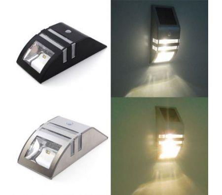 Image of Stainless Steel Solar Power Highlight LED PIR Induction Wall Light - Black