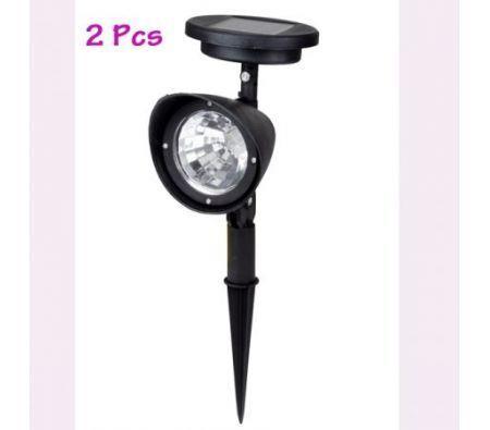 Image of 2Pcs Solar Lawn Light Solar Spot Light 3 LED Bulbs for Garden