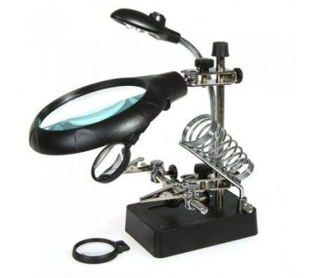 Image of 2.5X 7.5X 10X LED Light Magnifier Helping Hand Auxiliary Clamp Alligator Clip Stand
