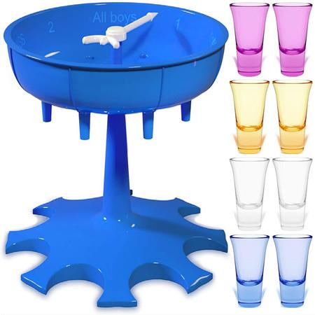 Image of 8 Shot Glass Dispenser and Holder Drink Dispenser Cocktail Dispenser Shot Glass Holder for Parties and Bars Shot Dispenser with 8 Colorful Glasses (Blue)