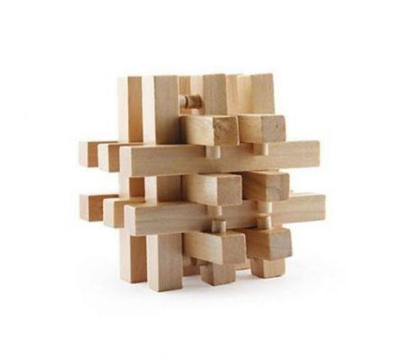 Image of Intelligence Wooden Wood Pull-Apart IQ Puzzle Brain Teaser Magic Cube Toy Gift