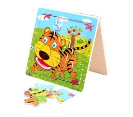 Image of Hot Funny Tiger Puzzle Educational Developmental Children Baby Wooden Toy