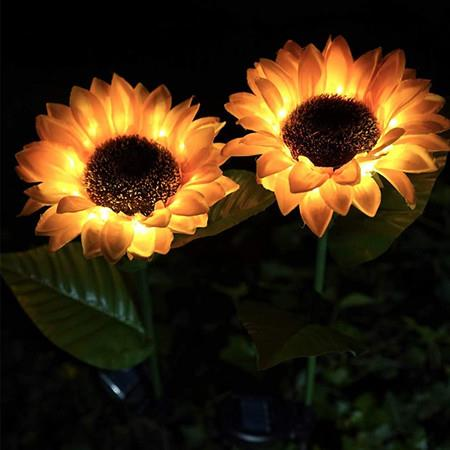 Solar LED Outdoor Lights | Sunflower Garden Lighting for Courtyard, Front yard(2 Pack)