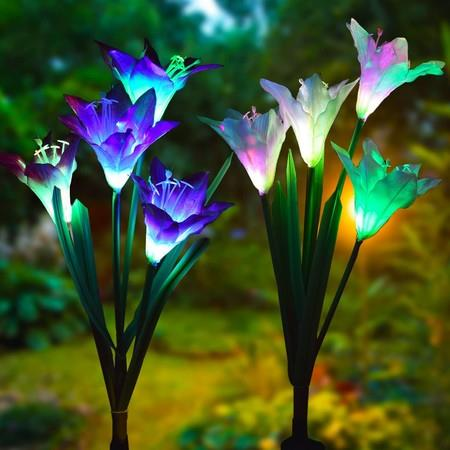 Image of Outdoor Solar Garden Stake Lights - Doingart 2 Pack Solar Powered Lights with 8 Lily Flower, Multi-color Changing LED Solar Decorative Lights for Garden, Patio, Backyard (Purple and White)