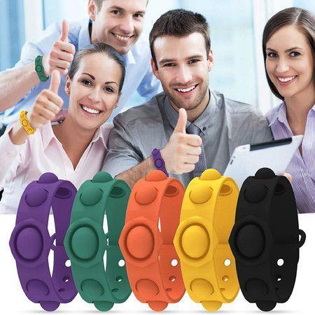 Image of 2pcs Fidget Toy, Portable Simple Dimple Sensory Fidget Bracelet, Stress Relief Hand Toy for Kids Adults Anxiety Autism, Pop Bubble Bracelet Exhaust Stress Toy (Purple n ORANGE)