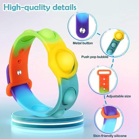 Image of Stress Relief Wristband Fidget Toys, Wearable Push Pop Bubble Sensory Fidget Hand Finger Press Silicone Bracelet Toy for Kids and Adults Anxiety ADHD ADD Autism (watchband-Rainbow)