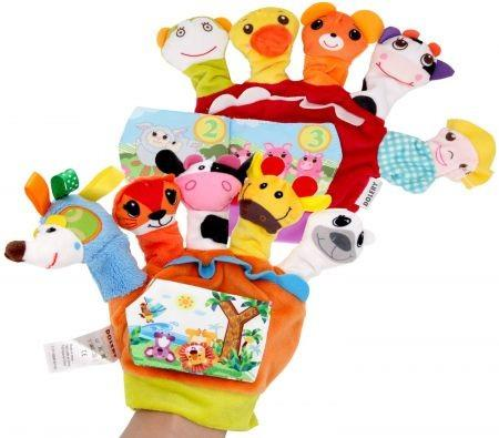 Image of 18cm Hand Puppets Set with Cloth Book Story Telling10 pcs Finger Puppet Soft Left Gloves
