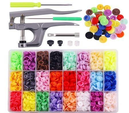 Image of 360pcs Snaps Plastic Buttons with Snaps Pliers Set for Clothes Sewing, Bibs, Rain Coat Crafting