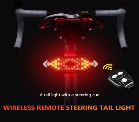 Image of LED Bicycle Tail Light Set USB Rechargeable Wireless Remote Control Turn Signals Waterproof Bicycle Light with Horn