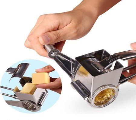 Image of Cheese Grater-Cheese Cutter Slicer Shredder with 3 Interchanging Rotary Ultra Sharp Cylinders Stainless Steel Drums & Slicer