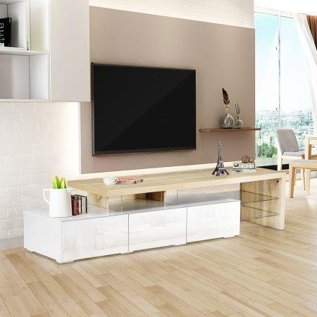 Image of High Gloss 180cm TV Cabinet Table Wooden TV Storage Unit Entertainment Console Oak and White
