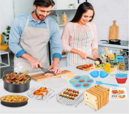 Image of 21Pcs 8inch Air Fryer Accessories Frying Baking Cake Pizza Oven Rack Tray Pot Pan 3.2QT-6.2QT-up