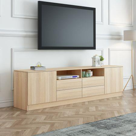 Image of 180cm Oak TV Stand Wood Entertainment Unit with Storage Drawers and Cabinets