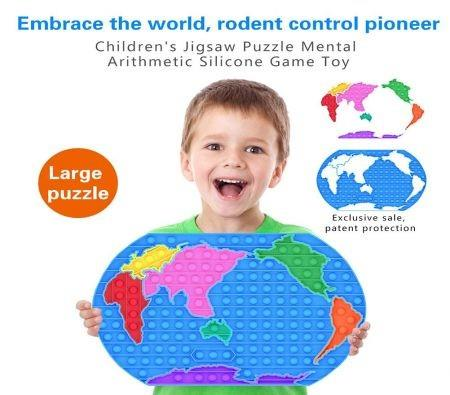 Image of Fidget Toy World Map Push Bubble Sensory Autism Special Needs Decompression Bubble Toy