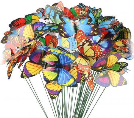 50PCS 7CM Butterfly Stakes and Garden Ornaments Garden Decorations for Indoor,Outdoor Yard,