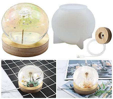 Image of 3D Light Resin Mold Epoxy resin DIY Molds with Wooden Lighted Base Stand 80mm