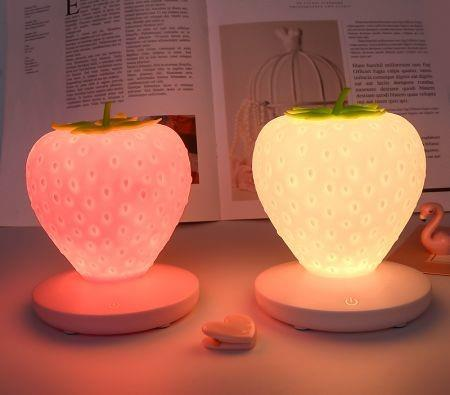 Image of For Baby Children Kids Gift Bedroom Decoration Touch Dimmable LED Night Light Silicone Strawberry Nightlight USB Bedside Lamp