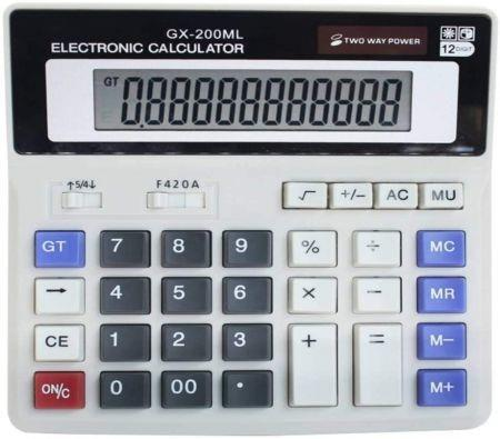 Image of 12 Digit Electronic Desktop Calculator, Keyboard Keys Large Display, Solar Battery Dual Power Basic Office Calculator