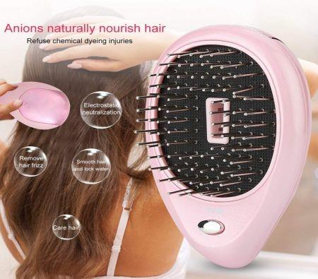 Image of Electric Ionic Massage Hair Brushes, Negative Ion Hair Brush Massage Comb, Portable Ion Hair Massage Comb Electric Vibration Magnetic Massager Comb (Pink)