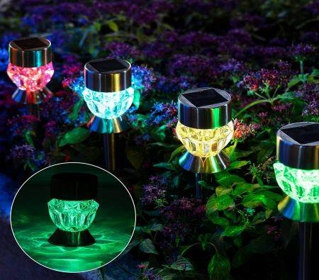 Image of Color-Changing Solar Path Lights,6-Pack Solar Garden Decor Lights, Diamond-Like Waterproof Walkway Lights for Lawns, Yards, Gardens, Pathways