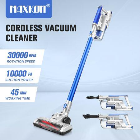 Image of 2-In-1 Cordless Vacuum Cleaner Stick Handheld Vac Rechargeable Led Lights 2 Speed-Blue