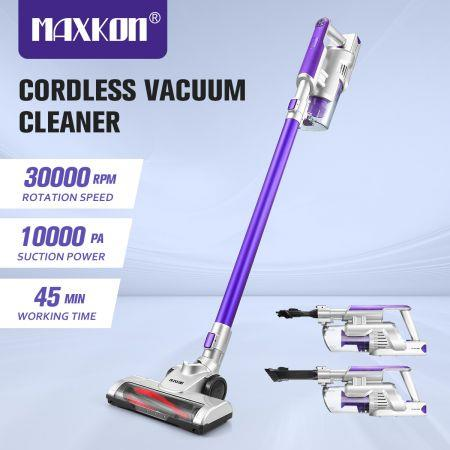 Image of 2-In-1 Cordless Vacuum Cleaner Stick Handheld Vac Rechargeable Led Lights 2 Speed-Purple