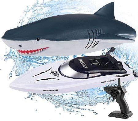 Remote Control Shark Boat 2.4G  Electric Watercraft Outdoor Toy Racing Ship for Pool RC Speedboat Lake Boat Toys for Kids & Adults