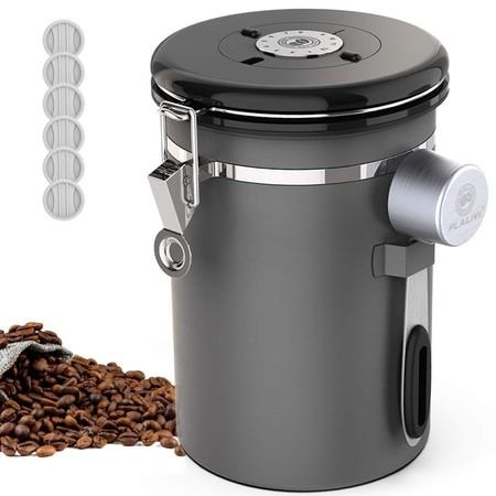 Image of 18L Stainless Steel Kitchen Food Storage Airtight Coffee Container with Scoop for Beans, Grounds, Tea, Flour, Cereal, Sugar with Date Tracker
