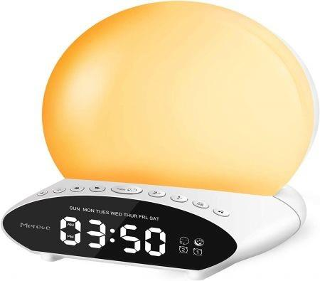 Sound Machine for Sleeping, 6-in-1 7 Colors Night Light with 30 Soothing Sounds, 20 Levels of Brightness/Volume, for Baby & Adults - Wake Up Lights Sunrise Alarm Clock Light with Snooze & Dual Alarms
