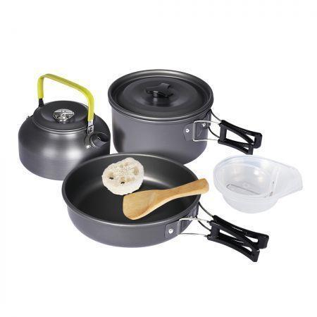 Image of 10Pcs Camping Cookware Set Outdoor Hiking Cooking Bowl Pot Pan Portable Picnic