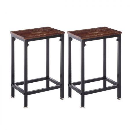 Image of 2x Bar Stools Stool Kitchen Wooden Black Chair Dining Metal Industrial Barstools