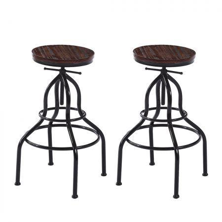 Image of 2x Bar Stools Stool Swivel Gas Lift Kitchen Wooden Dining Chair Chairs Barstools