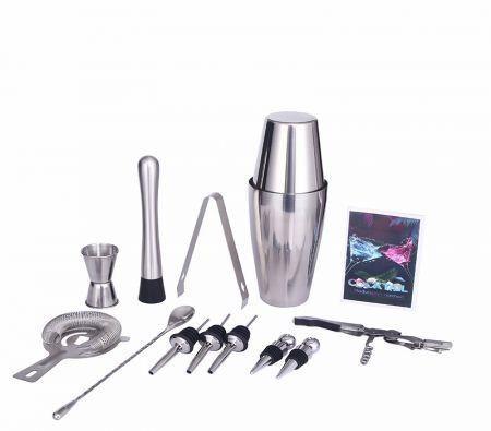 Image of 12 Pcs Bartender Kit Cocktail 600ml/800ml Boston Shaker Set with Stand, Muddler, Jigger, Strainer