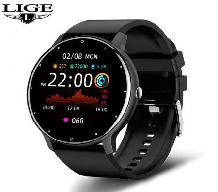 Smart Watch Men Full Touch Screen Sport Fitness Watch IP67 Waterproof Bluetooth For Android ios smartwatch Men+box (Black)