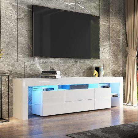Image of 200cm TV Stand Cabinet LED Entertainment Unit Wood Storage Furniture w/2 Drawers & 2 Doors - White