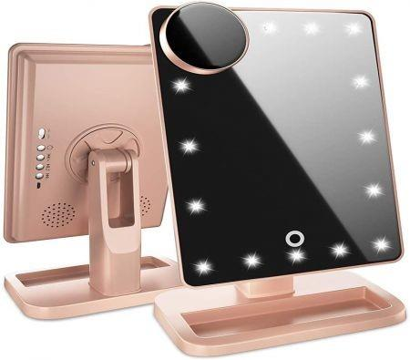 Image of Lighted Makeup Mirror, Vanity Mirror with Bluetooth. Adjustable Brightness, Detachable 10X Magnification Spot Mirror, Rechargeable by Beautify Beauties (Rose Gold)