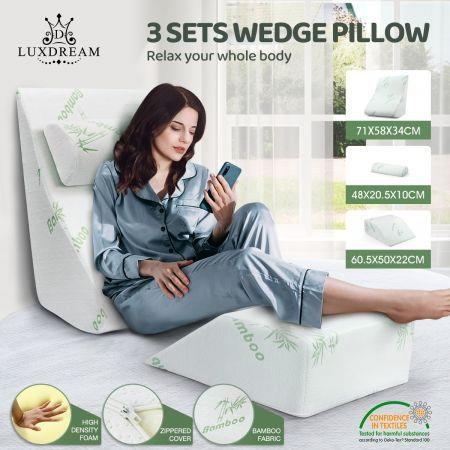 Image of 3 Pcs Memory Foam Wedge Pillow Set Bed Pillow Headrest Leg Elevation Bamboo Cover
