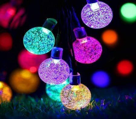 Image of Solar Fairy Lights Outdoor Waterproof, 50LED Solar Garden Lights, 8 Mode 7M/24Ft Indoor/Outdoor Solar String Lights for Garden Patio Yard Home Christmas Parties Wedding(Multi-Coloured)