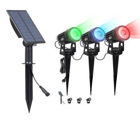 Image of 3Packs Solar Spotlights RGB Landscape Lights Color Changing Low Voltage Outdoor Solar Spotlight IP65