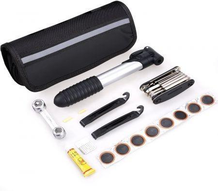 Image of Speedrid Bike Repair Tool Kit, Cycling Mechanic Tool Kit Handy Bag, Portable Bicycle Equipment Sets Included Mini Pump & 16 in 1 Bike Multi Tool