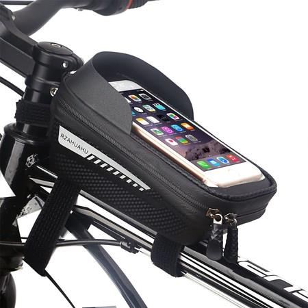 Image of Bike Bag, Bike Phone Front Frame Bag for Bicycle Top Tube Phone Pouch Stable and Waterproof Bike Phone Holder Bag Fit Phone Under 6.5 inch
