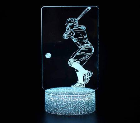 Image of 3D Baseball Night Light 16 Color Change Remote Control