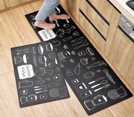 Image of 2packs 45x75cm + 45x150cm PU leather Anti Fatigue Kitchen Floor Mat Set