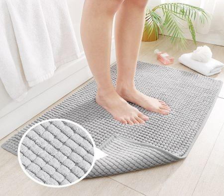 Image of 40cm x 60cm Chenille Bathroom Rug,Extra Soft and Cozy, Non-Slip,Super Absorbent Water