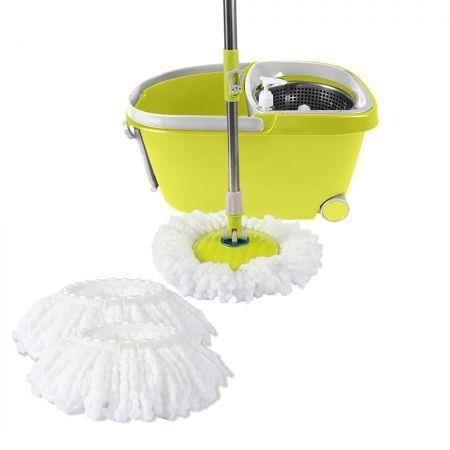 Image of 360� Spin Mop Bucket Set Spinning Stainless Steel Rotating Wet Dry Green