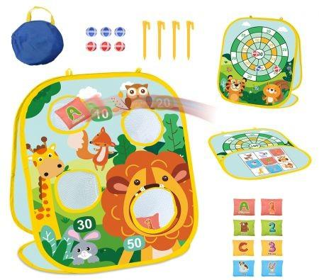 Image of Bean Bag Toss Game for Kids, 3 in 1 Cornhole Game Set for Toddlers, Collapsible Cornhole & Dart Board for Kids Zoo Theme