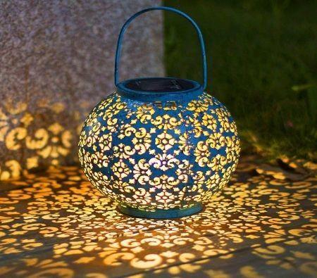 Image of Solar Big Lantern Hanging Garden Outdoor Lights Metal Waterproof LED Table Lamp Decorative