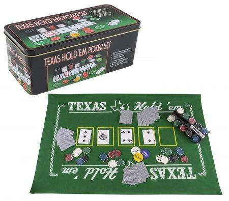 Image of Gamie Texas Holdem Poker Game Set Includes Mat, 2 Card Decks, Chips, Chip Holder and Tin Storage Box Gift for Kids and Adults
