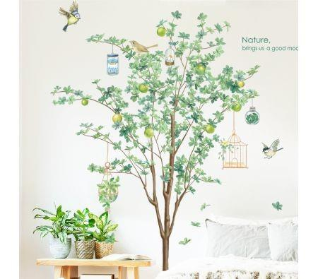 Image of 2PCS Self-Adhesive Plant Wall Murals ,DIY Wall Stickers with Green Trees 90x60cm