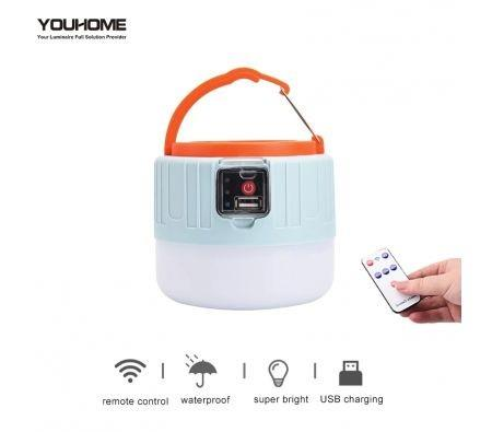 Image of Solar camping light portable LED Lantern usb rechargeable waterproof remote control led bulb for outdoor emergency